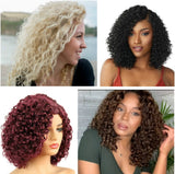 High Temperature Hair Bob Blonde Black Brown Synthetic Wigs For Women Fashion Afro Curly Wig