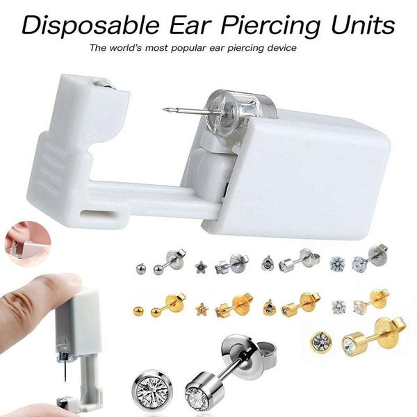 Disposable Ear/Nose Piercing Units - Silver Gold Stud Earring Gun Kit DIY Home