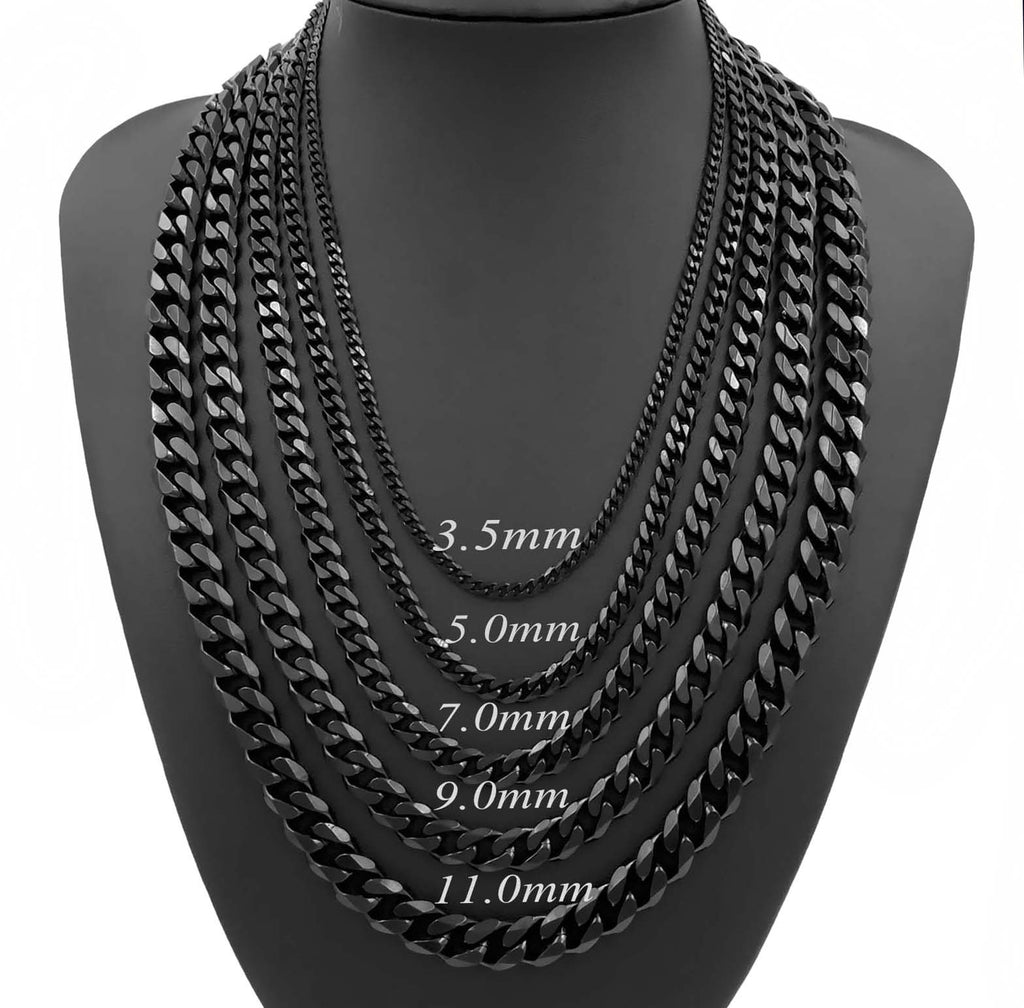 Fashion 3.5/5/7/9/11 MM Stainless Steel Necklace Mens Boys Black Curb Chain Necklace Jewelry 24inch