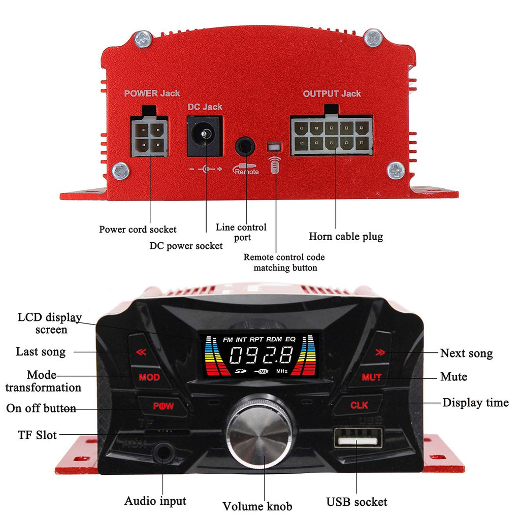 Universal DC12V bluetooth Motorcycle Motorbike MP3 FM Player Audio System Radio Stereo Amplifier 2X Speaker Wireless Remote