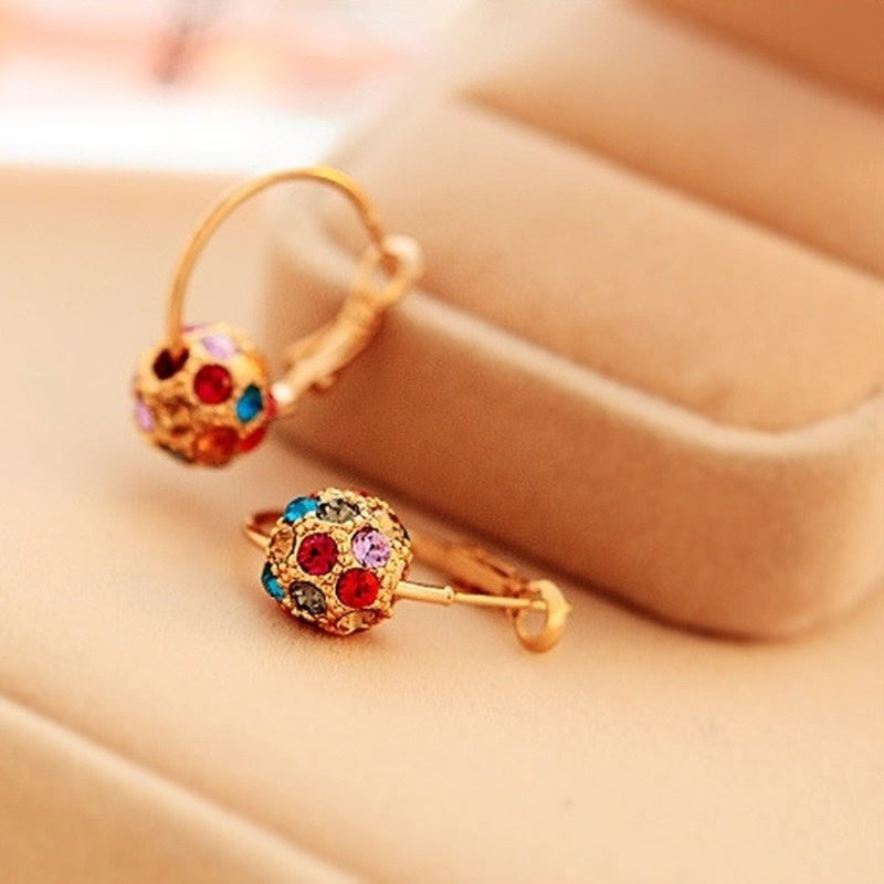 Women's Earrings Fashion925 Sterling Silver 24K Gold and Diamond Pendant Earrings European and American Fashion Shiny Earrings for Wedding Engagement Earrings, Bridal Jewelry, Birthday Gifts (Color: Gold, Silver, Multicolor)