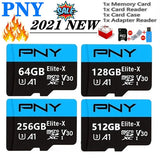 HOT 2021 new Blue PNY tf card High speed  512GB 256GB 128GB 64GB 32GB 1GB 512MB USB card  Micro SD Micro SDHC Micro SD SDHC card 10 UHS-1 TF memory card + card reader