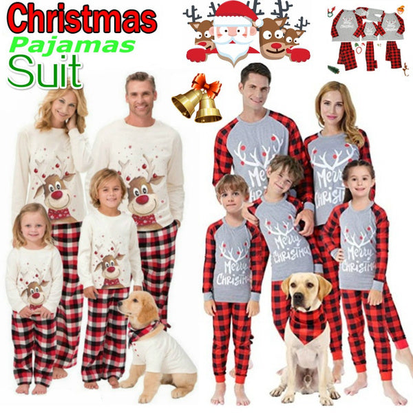2021 Hot Newest Christmas Printed Family Pajamas Set Christmas Clothes Parent-child Suit Home Sleepwear Baby Kid Dad Mom Dog Pet Matching Family Outfits Newest