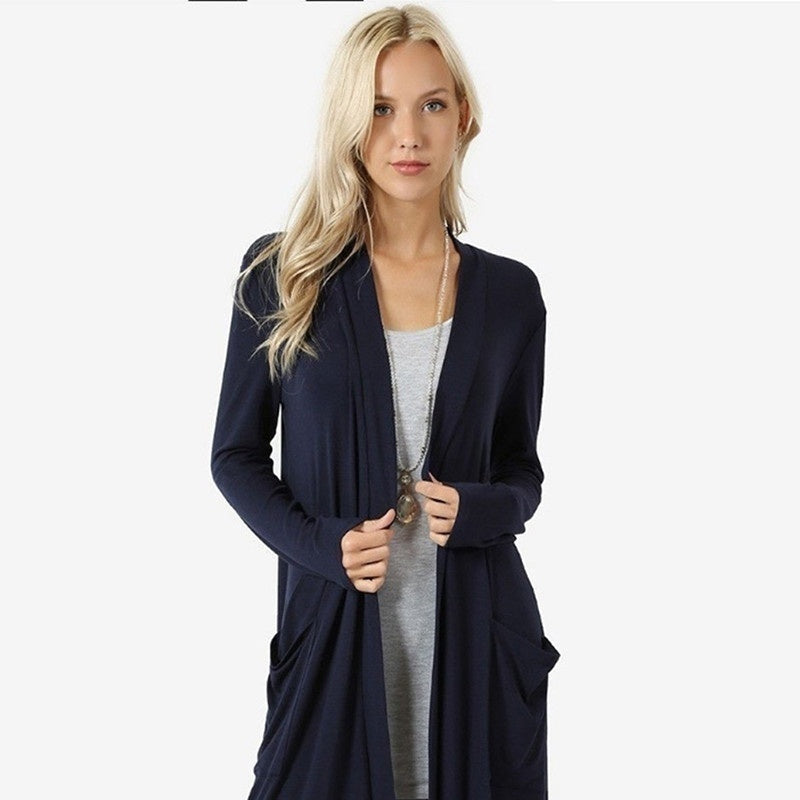Women Thin Cardigans Simple Fashion Overcoat Long Sleeved Slim Fit Open Front Cardigan Outwear