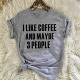Women's Fashion Round Neck Short Sleeve T-Shirt  Printed Letter 'I Like Coffee and Maybe 3 People' Casual Tops