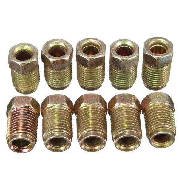 10pcs 10mm x 1mm Male Short Brake Pipe Screw Nuts for 3/16' Metric Pipe