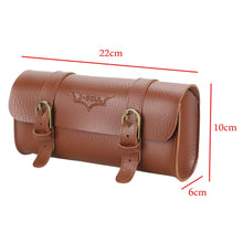 Load image into Gallery viewer, Hand Stitched Bicycle Saddle Bag Retro Pannier Leather Seat Front Handlebar New