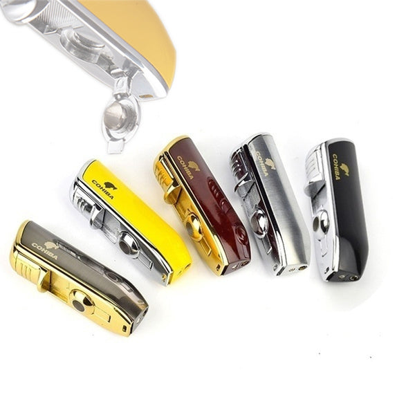 Multi-color metal cigarette lighter 3 TORCH JET FLAME gas butane cigar lighter does not contain gaseous fuel