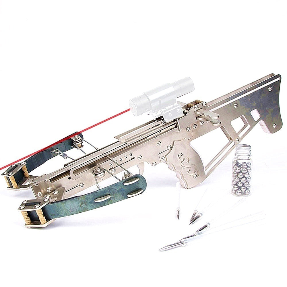Hunter Powerfull Assembled Crossbow Stainless Steel Shooting Toys With Gift (6 Arrows + Steel Balls)