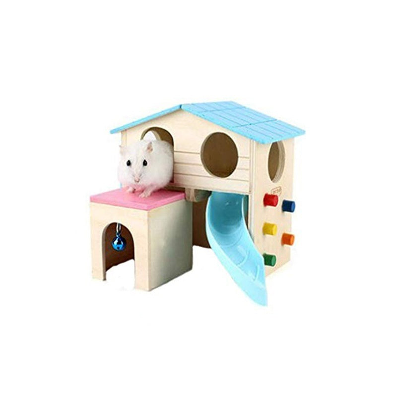 1pc Hamster House Climbing Bell Funny Ladder Slide House Hamster Small Animal Pet Hut Play House Hideout