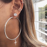 1 Set Women Fashion Cross Decoration Large Round Earrings Party Charming Stud Earrings Ear Clip Round Earrings Combination Set