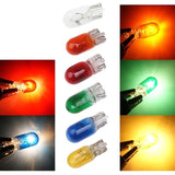 10pcs Car T10 Halogen W5w 194 158 Wedges 12v 5w Xenon Lamp Warm White Yellow Green Red Blue Amber Instrument Light Reading Light Clearance Lamp for Most Cars