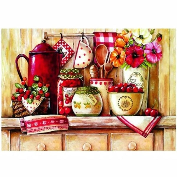 NEW Kitchen Corner with Table Are Cherry Diy Gift diamond Painting 5D Diamond Embroidery Mosaic Kit