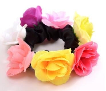 Big Rose Flower Elastics Hair Holders Rubber Bands Girls Women Cute Tie Gum Fabric Hot Wreaths Crowns Wedding Hair Accessories