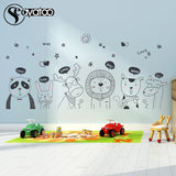 Cartoon Animal Zoo Jungle Panda Lion Vinyl Wall Sticker Decal Kids Baby Bedroom Nursery 57x168cm