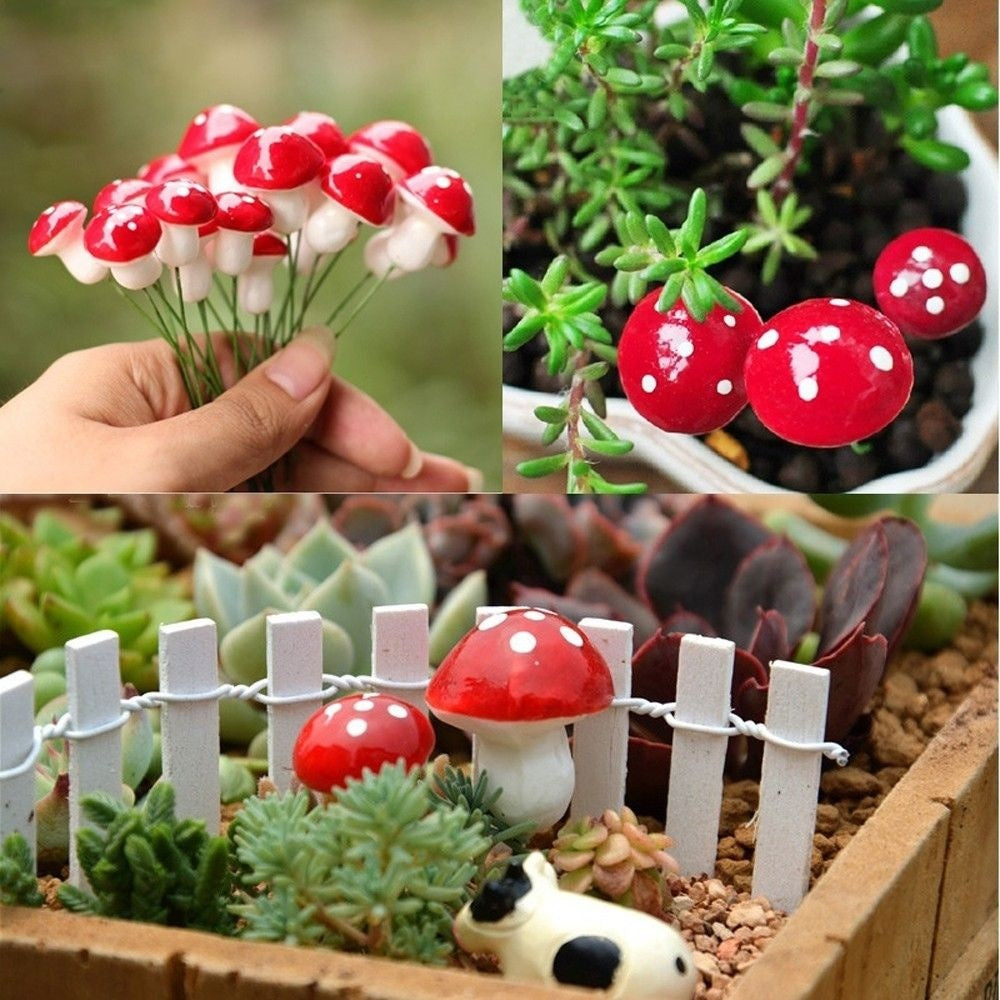 20Pcs Mini Red Mushroom Miniature Plant Pots Landscape Bonsai Fairy DIY Dollhouse Decoration Garden Ornament