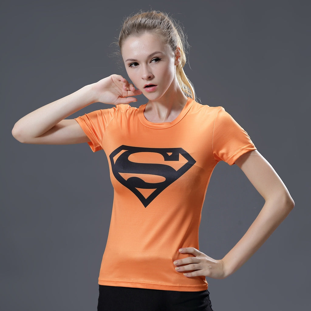 Ladies Superhero Logo Quick-drying Fitness Tights Sport Short-sleeved T-shirt
