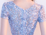 Elegant Gray Lace Prom Dress Simple Short Party Formal Gown Party Dress Womens Slim Fit Dress Ladies Sexy Floral Dress