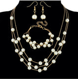 Sweet OL elegant pearl multi-layer temperament necklace earrings bracelet set three-piece