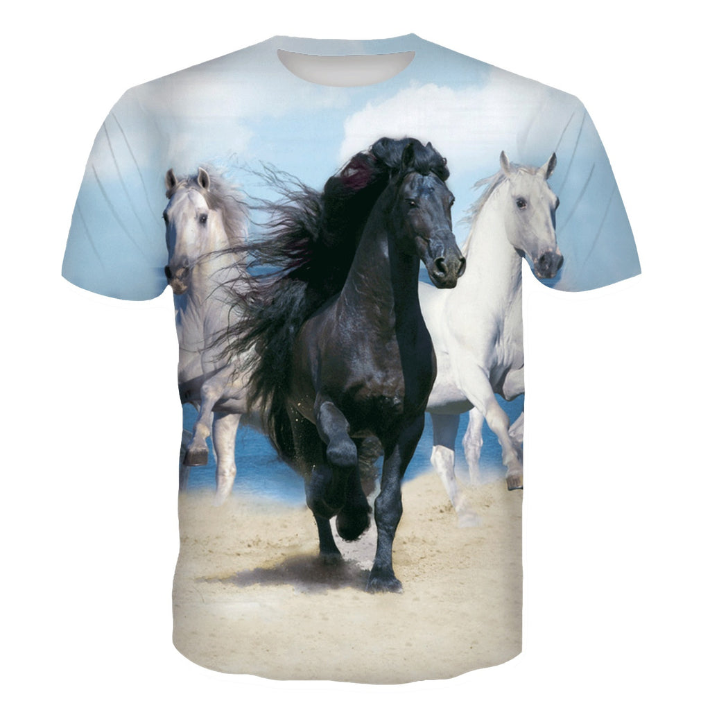2019 New Fashion Painting 3d tshirt Animal Horse Creative Print Men/Women Casual shirt