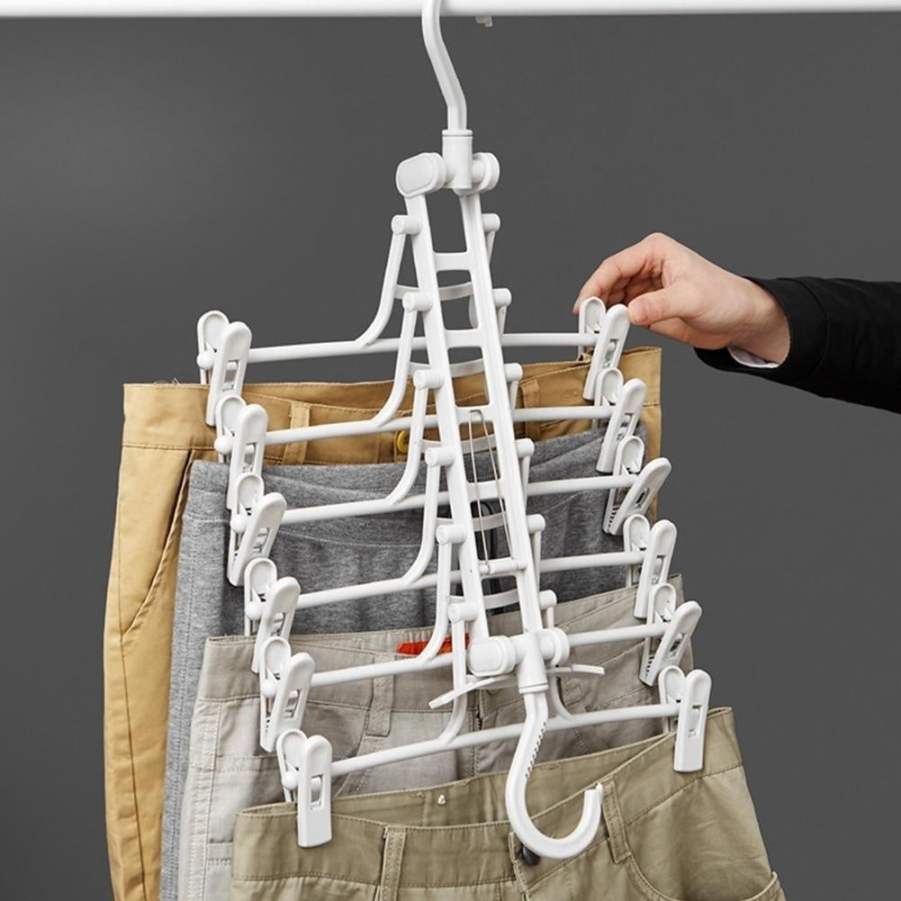 Multi-layer Pants Folding Hanger Space Saving Wardrobe Rack