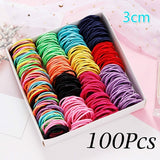 100PCS/Lot Hair Rope Girls Candy Colors Nylon 3CM Rubber Bands Children Safe Elastic Hair Bands Ponytail Holder Kids Hair Accessories