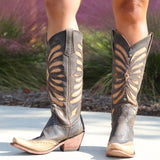 2019 Women's Vintage Black Brown Leather Inlay Distressed Cowgirl Boots Knee High Autumn/Winter Cool  Rivet Boots Plus Size