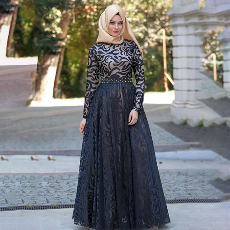 S~5XL New Mohammedanism Islam Dubai Abaya Muslim Dress Long Sleeve Floor Length Elegant Abaya Kaftan Muslim Islamic Maxi Dress Without Hijab
