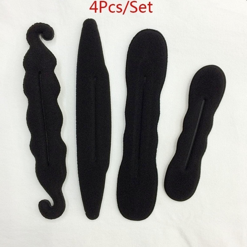 4Pcs/Set Women Magic Foam Sponges Styling Hair Clip Device Donut Quick Messy Bun Updo Hairs Clips Tools Practical Accessories