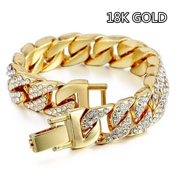 WULITOU-STORE Very Cool Men's Bracelet Full Iced Out Simulated Lab Diamond Jewelry Bling Bling Rhinestones Charm Wrist Chain