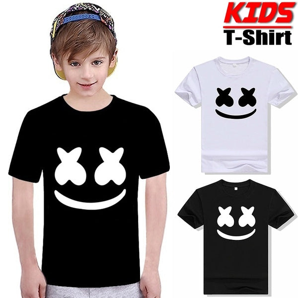 Kids Funny Print T-Shirt Teen Boys Summer DJ Eyes Short Sleeves Tees