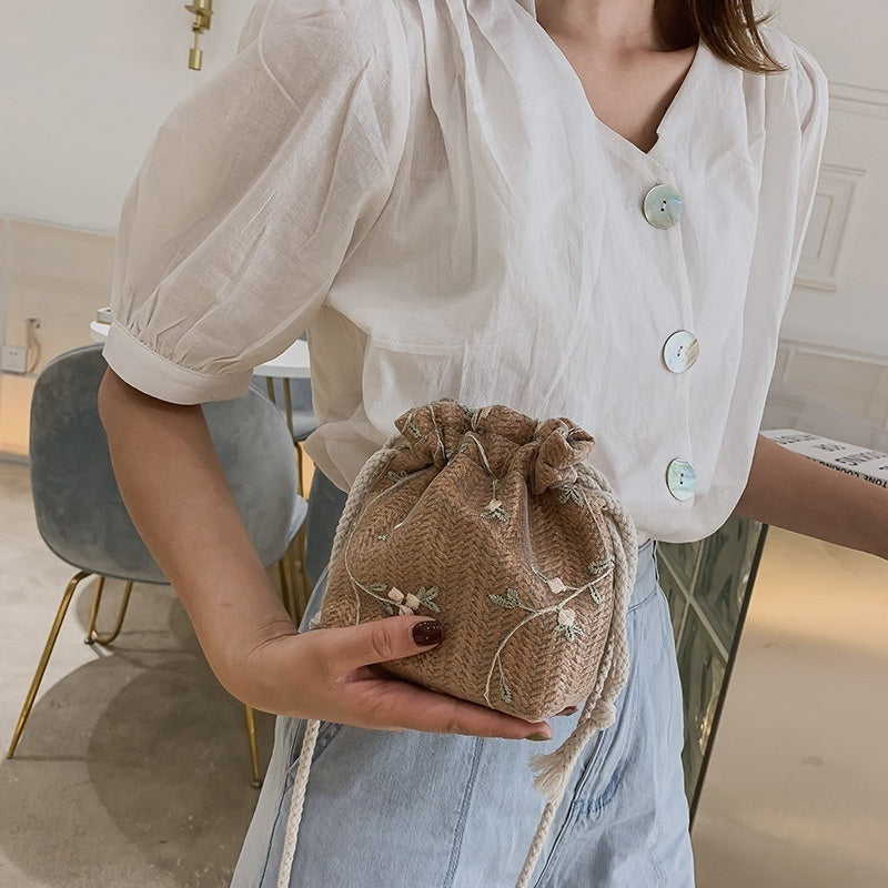 Women Lace Bucket Bag Causal Holiday Beach Bag Floral Lace Staw Bag Shoulder Crossbody Bag