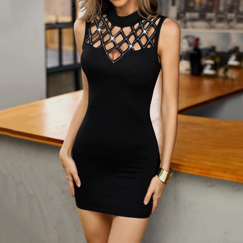 Fashion Women Fashion O-Neck Sleeveless Hollow Out Nail Beading Bodycon Mini Dress Evening Party Short Dress,Robe Femme