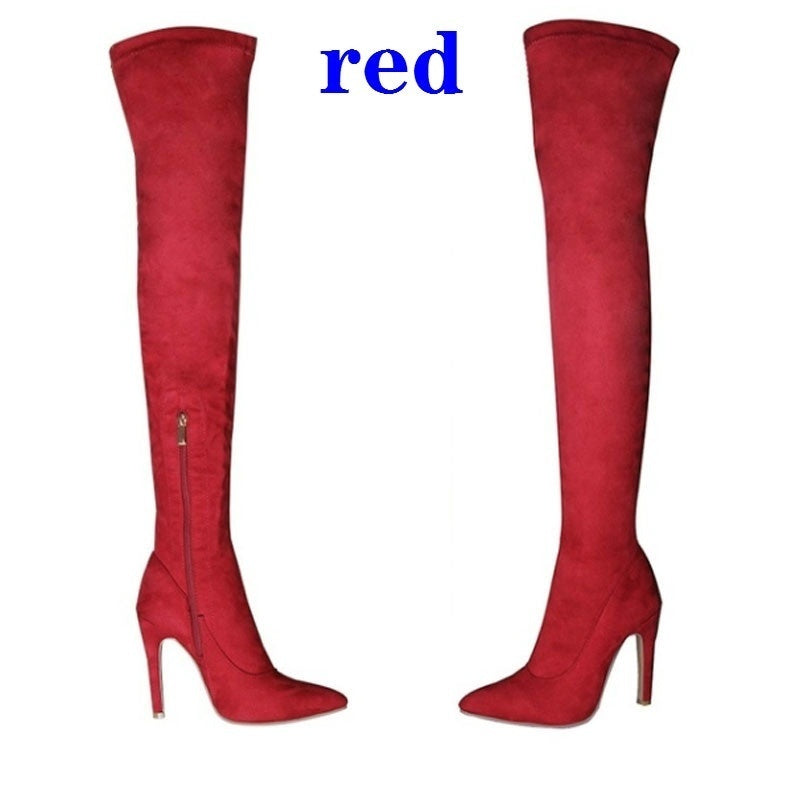 Women Stretch Slim High Heel Long Boots Trendy Over The Knee Boots Women Suede Shoes