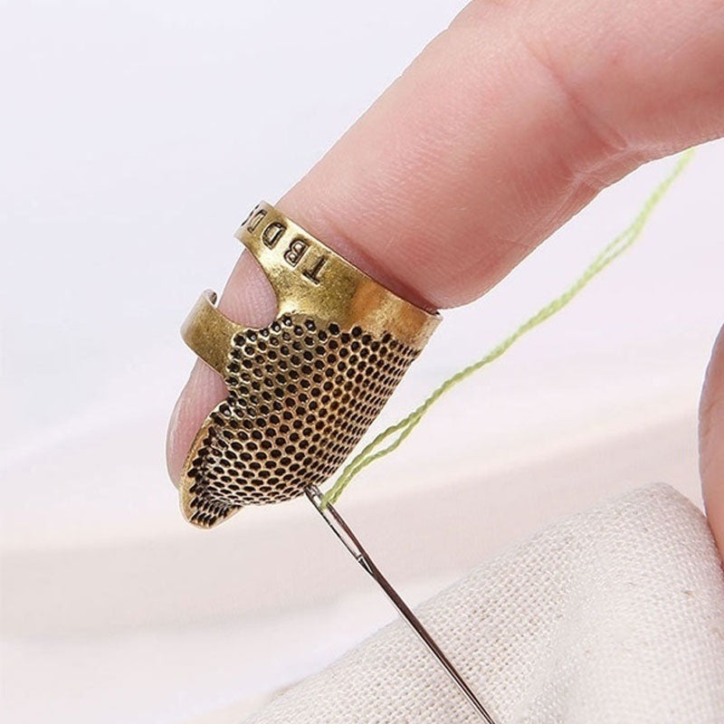 Retro Metal Sewing Thimble Finger Shield Protector Pin Needles Partner Sewing Tools Sewing Finger Cover