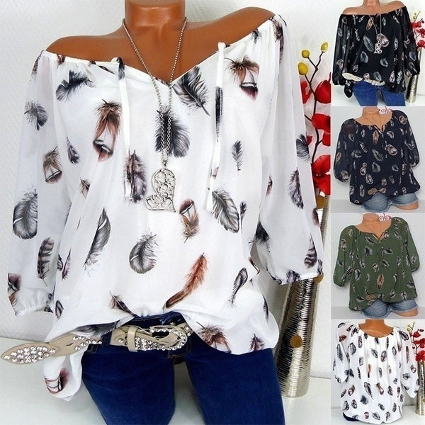 2019New Women Fashion Trendy Long Sleeve Feather Print Lace Up V-neck Off Shoulder Blouse Plus Size Shirts