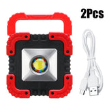 2Pcs/1Pc 50W 1000LM Solar COB LED Work lightPowered/USB Rechargeable Outdoor Waterproof Flood Lamp Portable Camping Lights