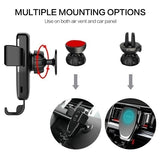 Car Gravity Mount Qi Wireless Charger For iPhone X 8 Plus iPhone XS Plus iPhone 2018 Air Vent Phone Holder Smart Wireless Fast Charging For Samsung Galaxy S9 S9 Plus S8 S7 S6 Note 9 Note 8 and Most 4.0-6.5 Inches Cellphone Which Support Wireless Charging