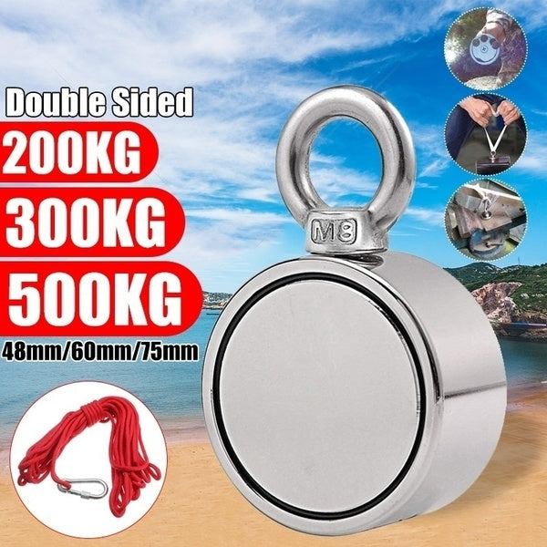 48MM / 60MM /75MM Super Strong Double Side Combined Pulling Force Round Neodymium Magnet, Fishing Magnet with Eyebolt for Magnet Fishing and Salvage In River and Treasure Hunting