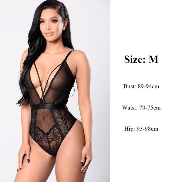 Fashion Sleepwear Backless Teddies Hollow Bodysuit Floral Lace Halter One Piece Sexy Lingerie