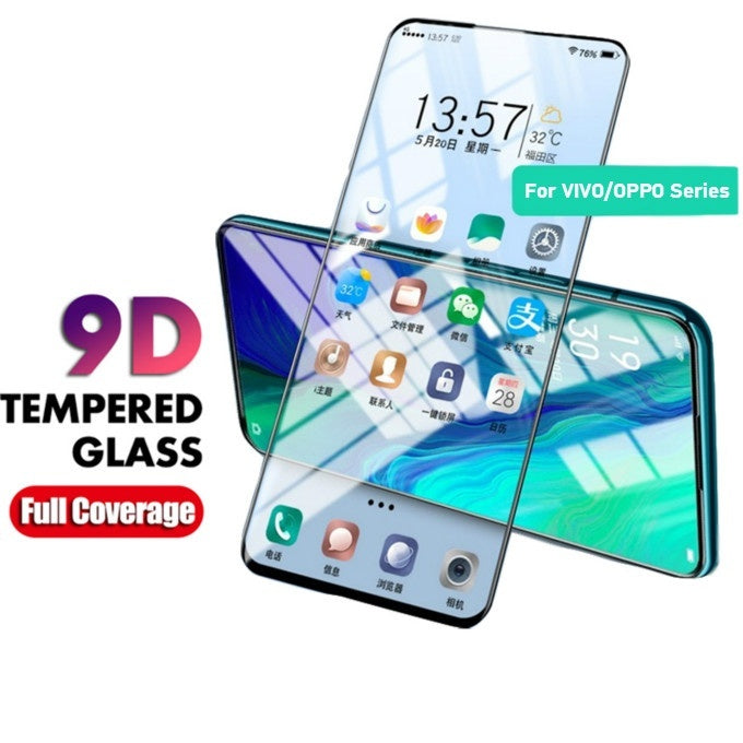 9D Full Cover Tempered Glass For VIVO IQOO Neo Pro V15 V11 V9 Pro X21 X23 X27 Z3 Z3i V11i Y97 Y85 Y83 Glass Screen Protector Protective Film For OPPO Reno Z Reno 2 R17 F9 F11 Pro A7X A9X
