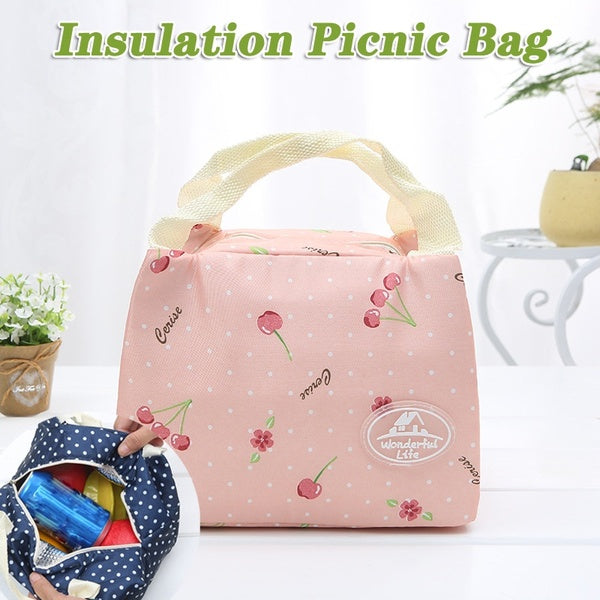 1 PC Lunch Bag for Kids Insulated Cold Canvas Stripe Picnic Case Thermal Portable Lunch Bag