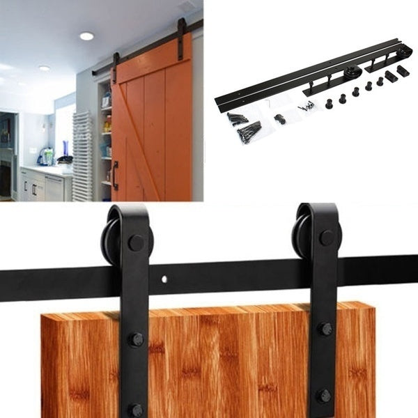 High Quality 1.83M Rustic Wood Door Sliding Track Space-Saving DIY Door Roller Classic Sliding Barn Door Hardware Sliding Door System