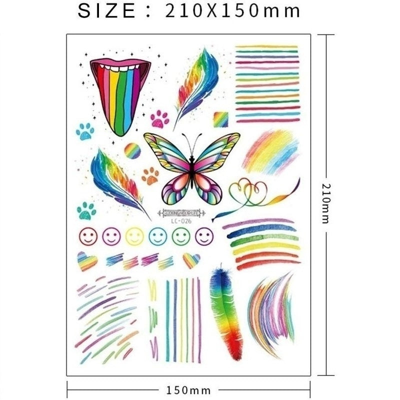 9 Sheets Tattoo Kits, Butterfly / Flower/ Heart/ Rainbow Temporary Tattoos Waterproof Body Art Sticker for Kids Adult Girls Birthday Party Favors Pride Celebrations