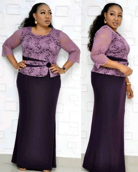 2019 new arrival autumn elegent african women lace plus size long dress XL-4XL