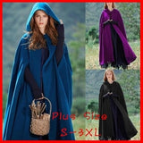 High Quality Winter Maxi Hooded Wool Coat Medieval Vintage Cashmere Shawl Loose Long Hooded Cloak Cape Long Wool Jacket
