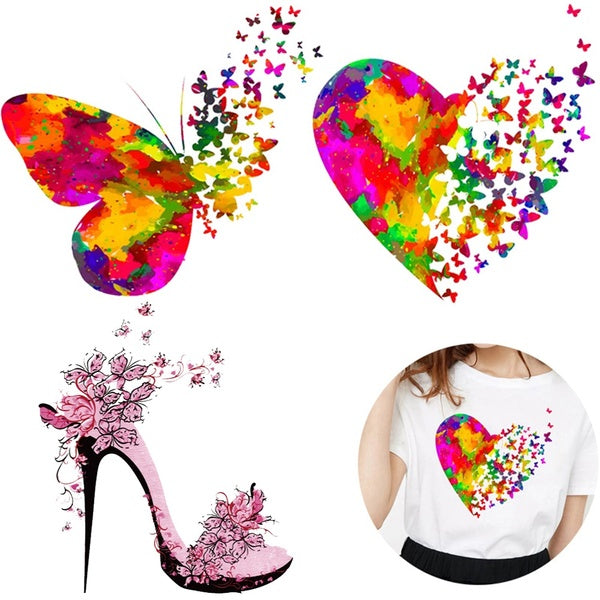 Vinyl PVC DIY Ironing Stickers Heart Butterfly Iron On Patches Applique Clothes Decor Heat Transfer Stickers