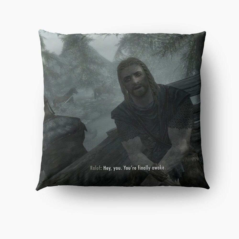 Skyrim - Hey You. You're Finally Awake. Print Pillow Cover Sofa Cushion Cover Living Room Bedroom Decor Polyester Pillow Case