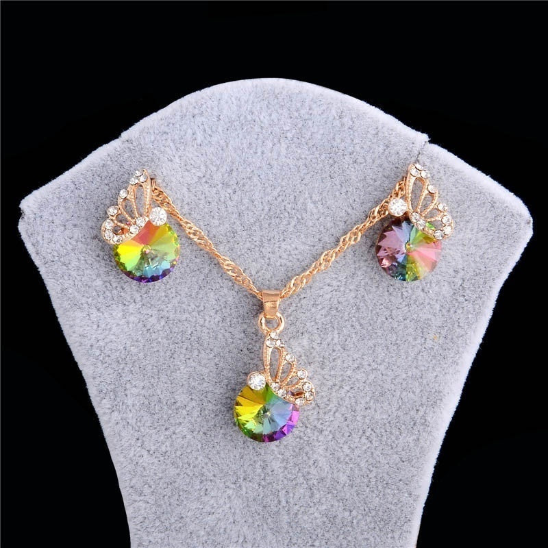 Women 18k Gold Filled Jewelry Set Colorful Austrian Crystal Animal Butterfly Pendant Necklace Earrings Set
