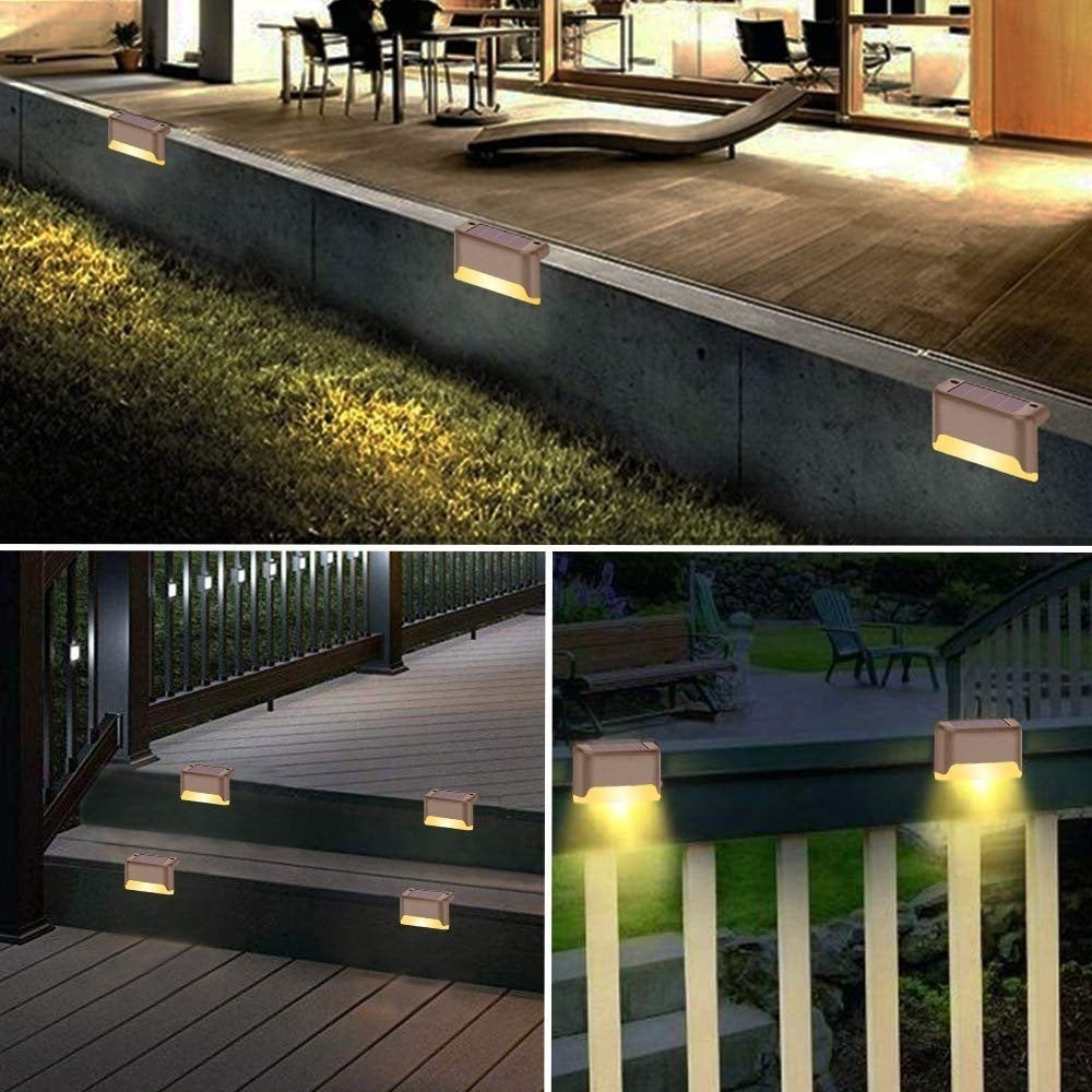 12/16 Pcs Solar Step Lights with Larger Battery Capacity Retro Design Decorative Solar Powered Deck Lights Weatherproof Outdoor Lighting for Steps Stairs Paths Patio Decks Landscape Decor